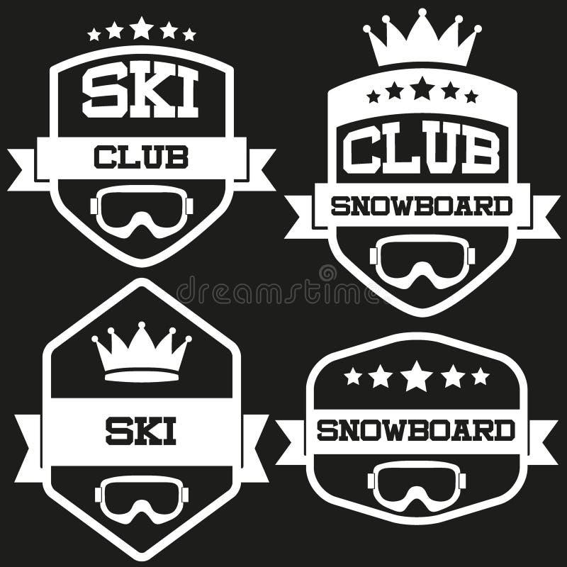 Reeks van het Uitstekende SKI en Snowboard-Etiket van het Clubkenteken royalty-vrije illustratie