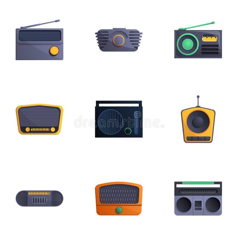 Reeks van het uitzendings de radiopictogram, beeldverhaalstijl vector illustratie