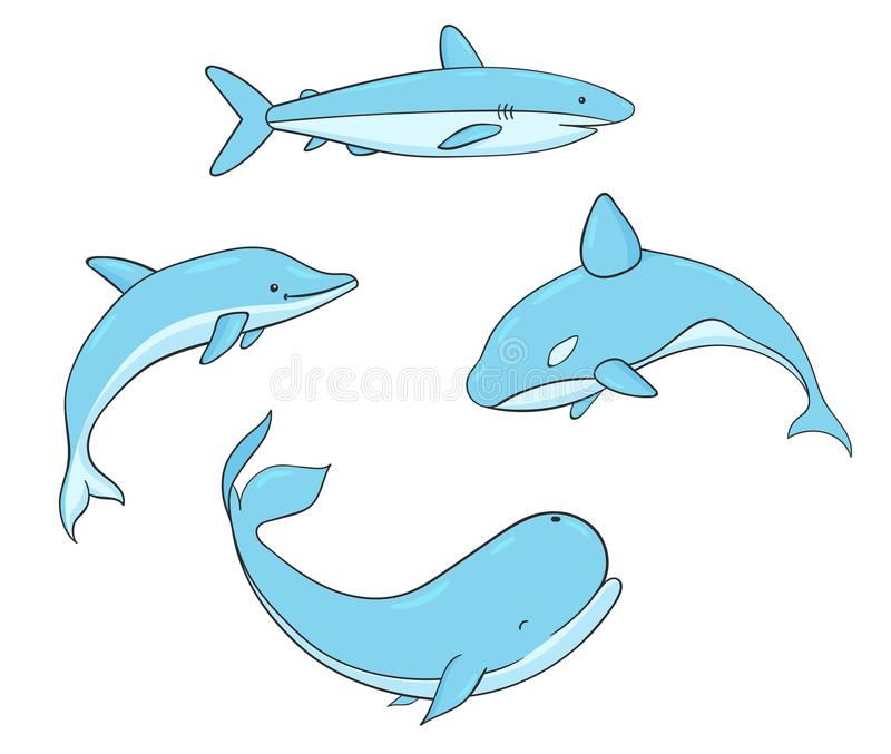 Reeks van het vector onderwaterleven met walvis, haai, narwal en dol stock illustratie