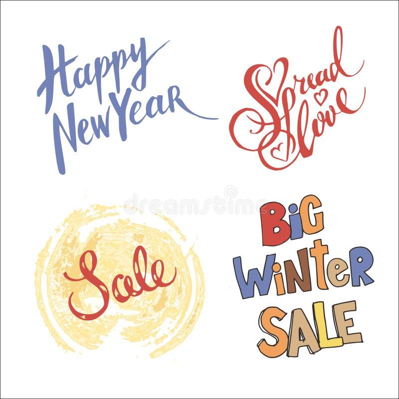 Reeks van het vectorhand getrokken van letters voorzien 4 met mooie teksten Perfectioneer voor Kerstmis, Nieuwe jaar en de Winter stock illustratie