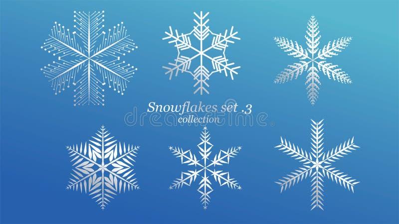 Reeks van het vectorontwerp van Sneeuwvlokkenkerstmis met de blauwe kleur van de ijsluxe op blauwe achtergrond Element van het de stock illustratie