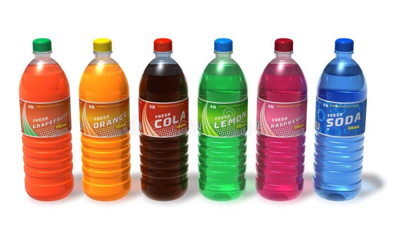 Reeks van het verfrissen van dranken in plastic flessen stock illustratie