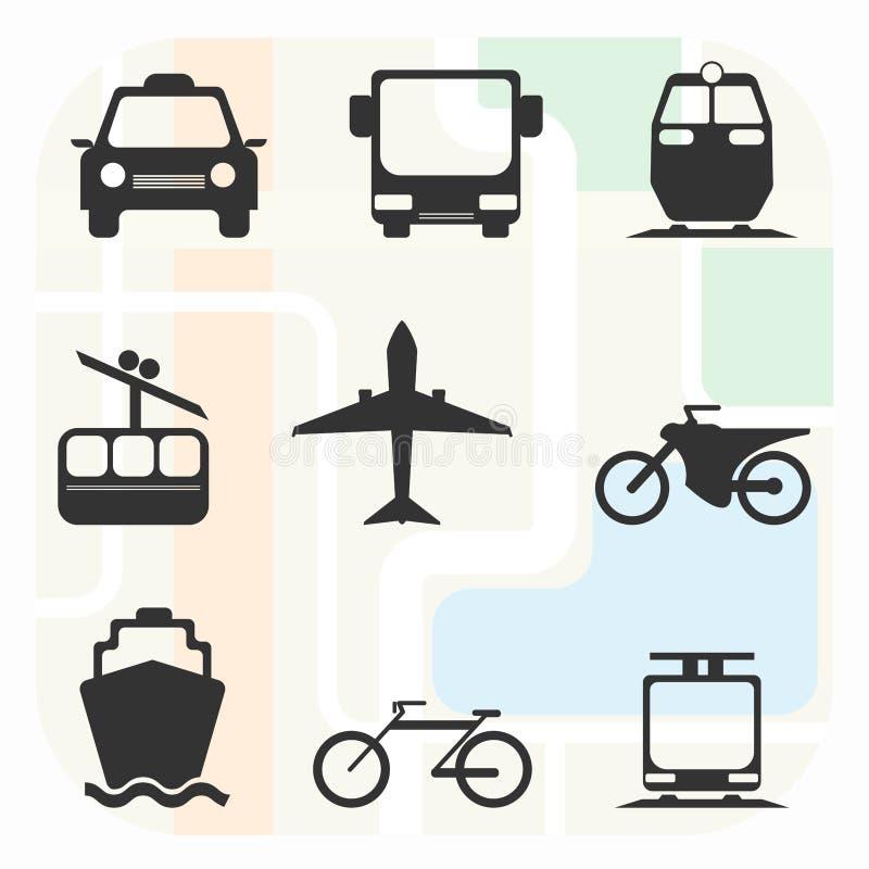 Reeks van het vervoers de Grote Zwart-witte Pictogram vector illustratie