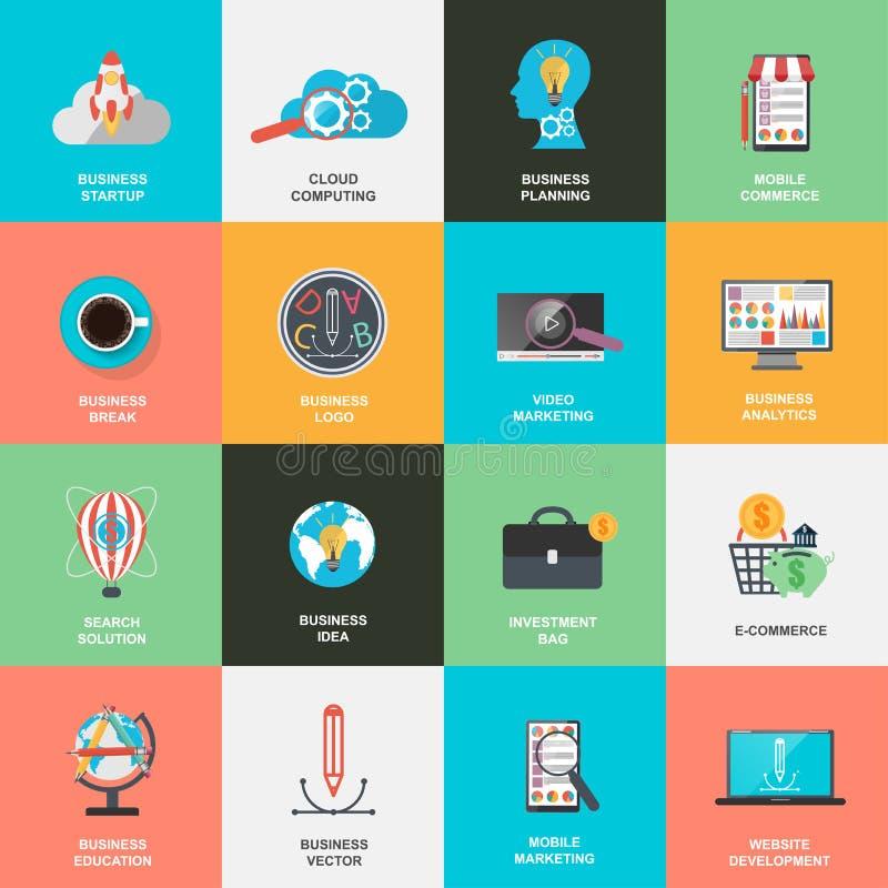 Reeks van het vlakke concept van ontwerppictogrammen voor marketing stock illustratie