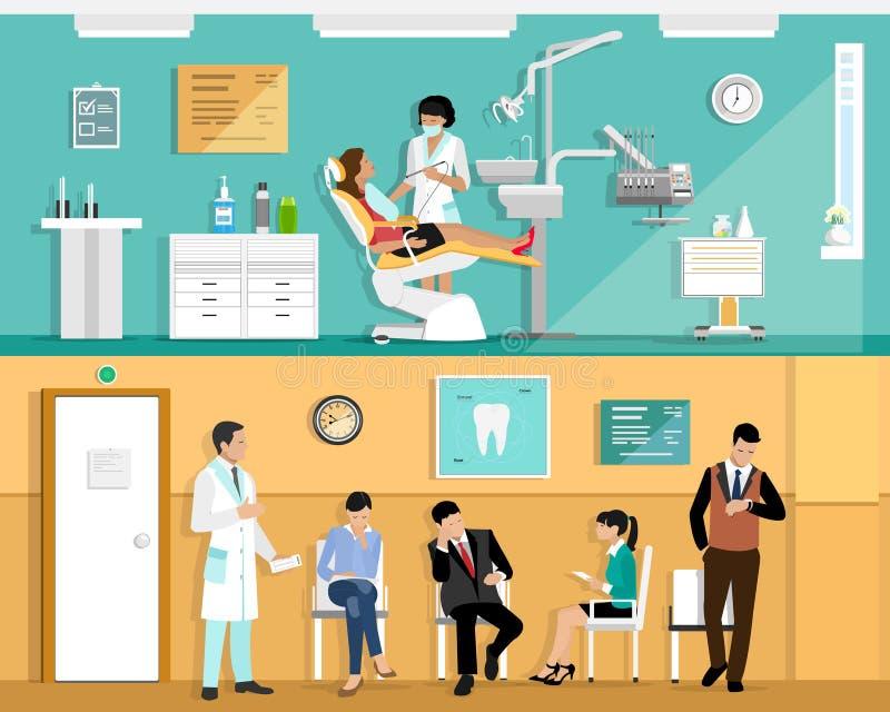 Reeks van het vlakke kleurrijke vector binnenlandse ontwerp van het tandartsbureau met tandstoel, tandarts, patiënt en tandhulpmi stock illustratie