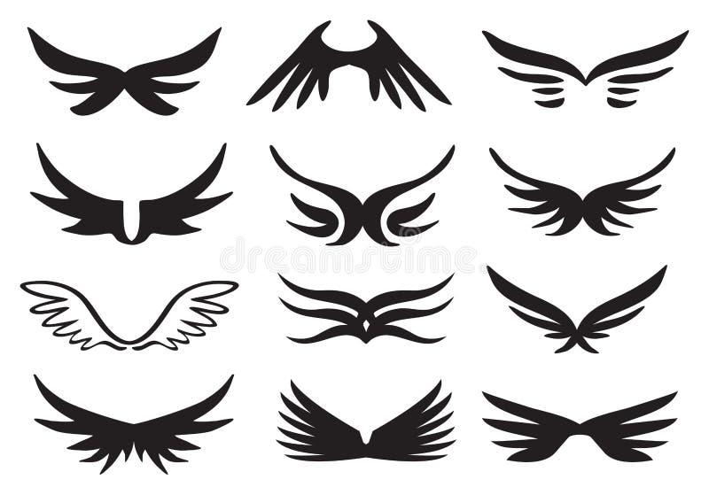 Reeks van het vleugels de vectorpictogram royalty-vrije illustratie