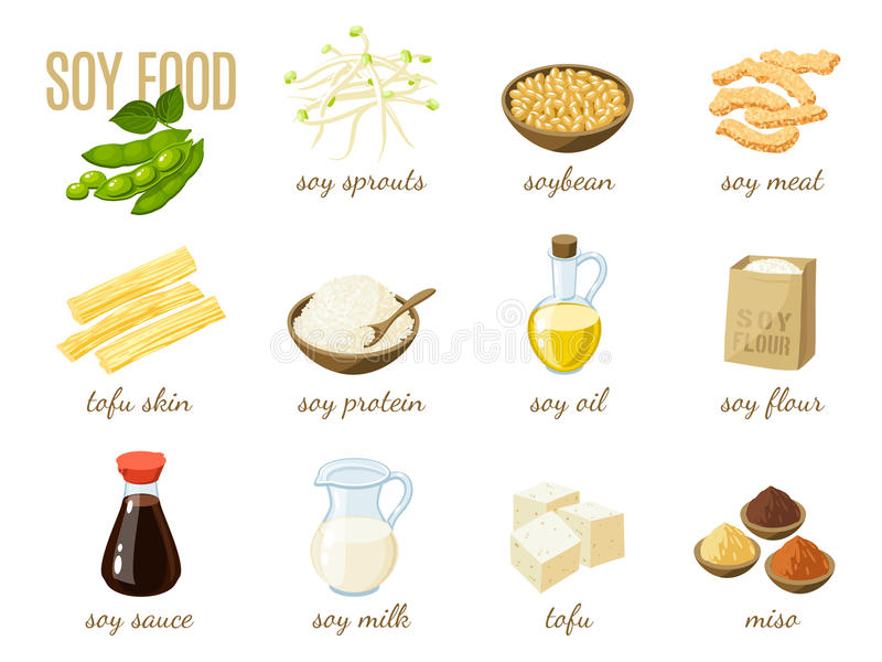 Reeks van het voedsel van de beeldverhaalsoja - melk, saus, vlees, tofu, miso en zo Vectorillustratie, op wit, eps 10 vector illustratie
