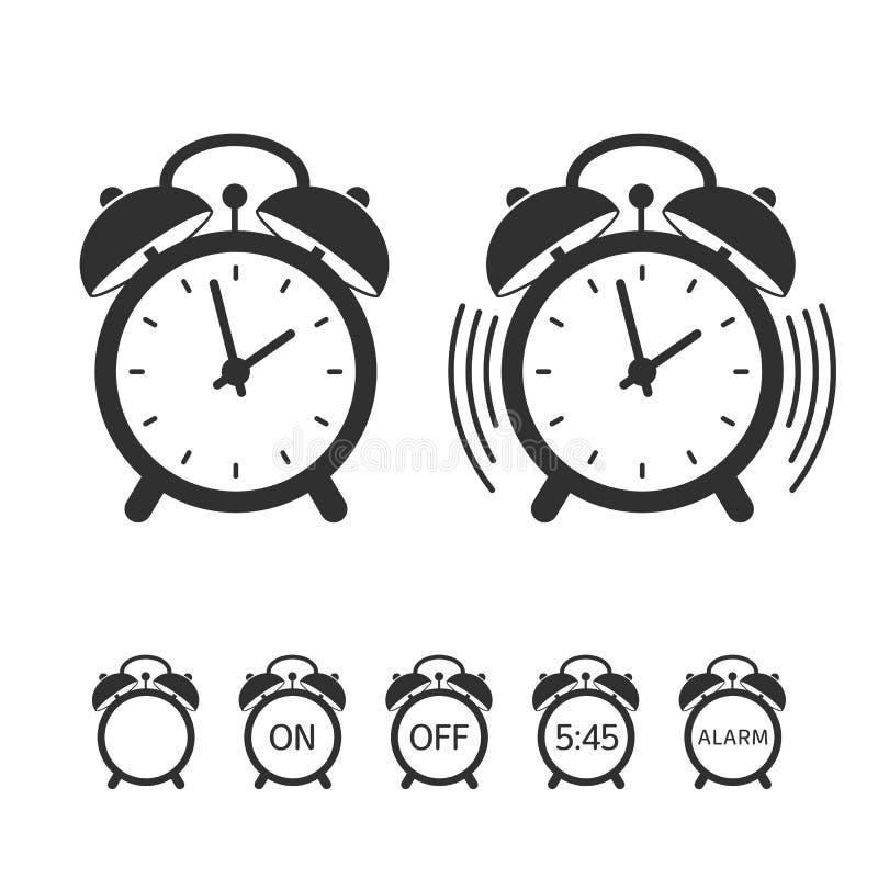 Reeks van het wekker de vectorpictogram stock illustratie