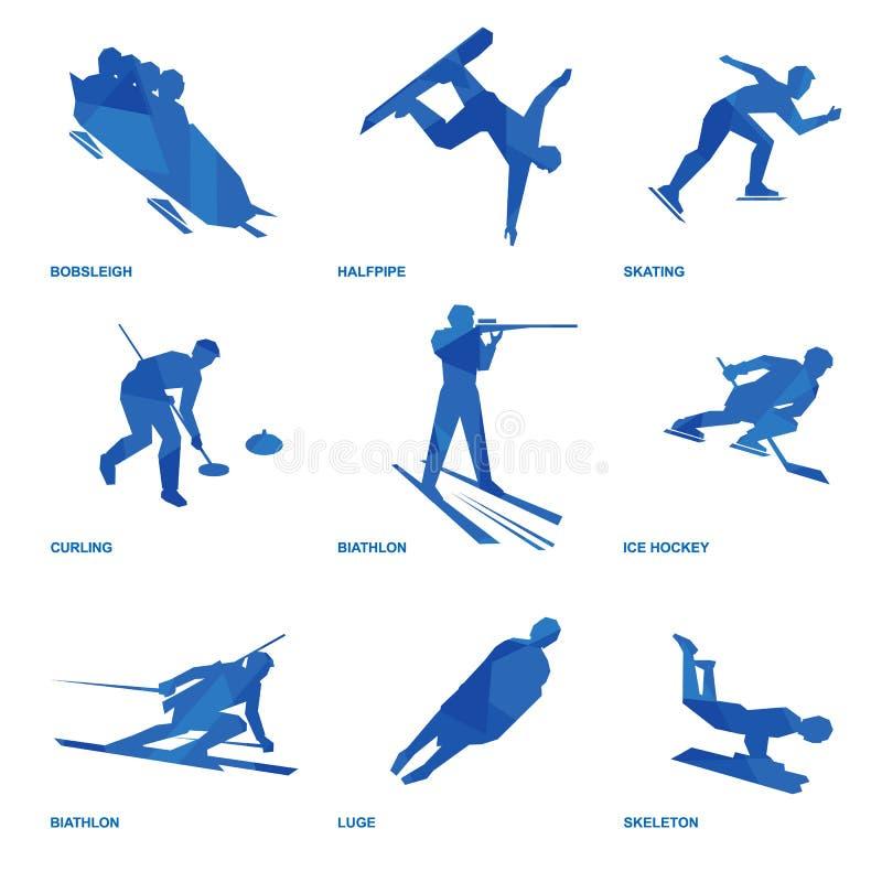 Reeks 1 van het wintersportenpictogram stock illustratie