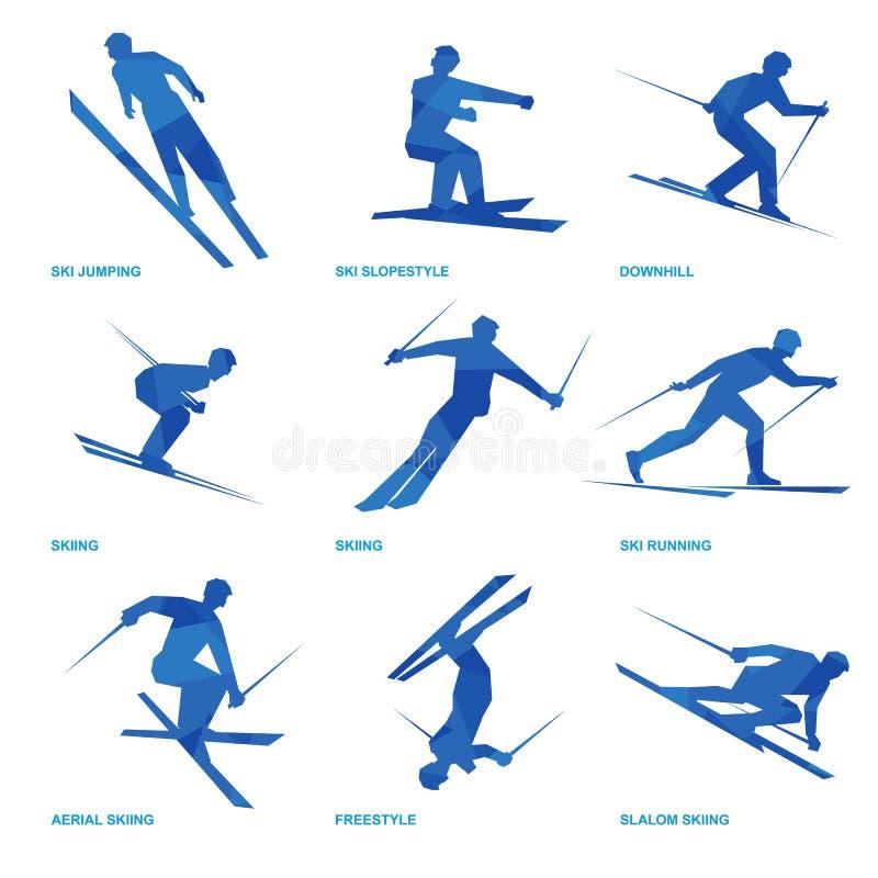 Reeks 3 van het wintersportenpictogram stock illustratie