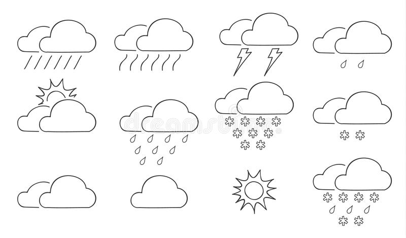 Reeks van het wolken de dunne pictogram van de kunstillu van de weerhand getrokken vectorlijn royalty-vrije illustratie