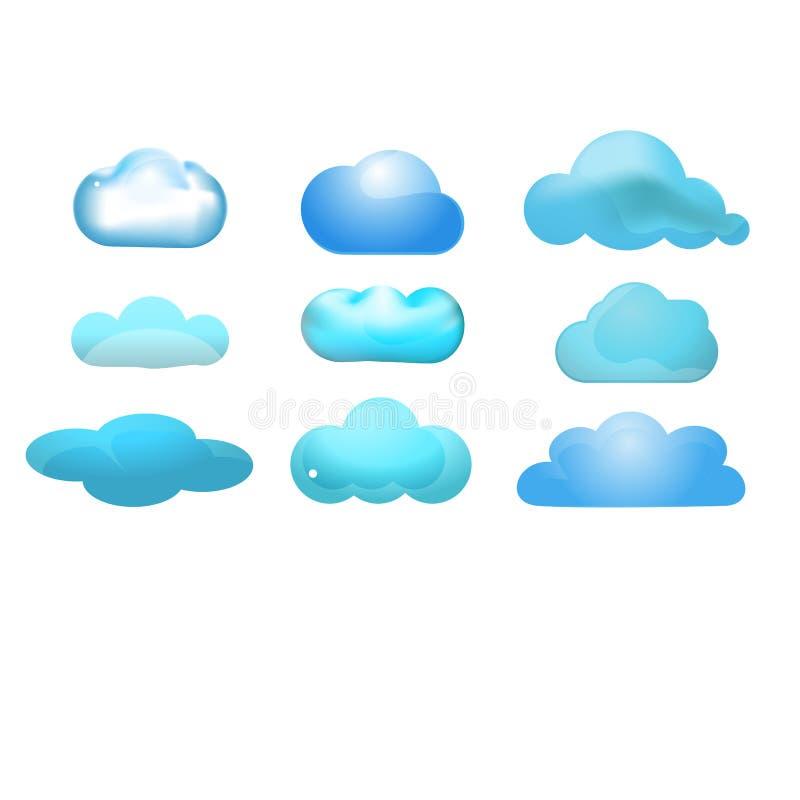 Reeks van het wolken de glanzende pictogram van 9 (Wolk die concep gegevens verwerken royalty-vrije illustratie