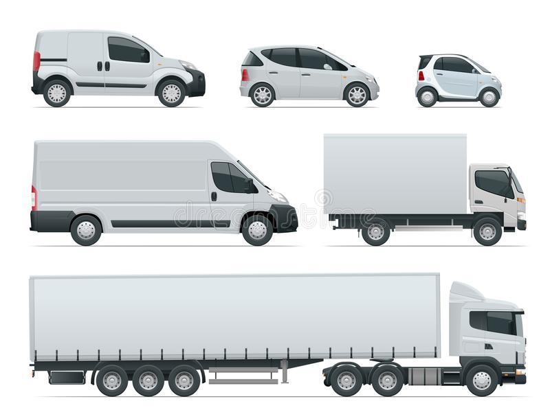 Reeks van het zijaanzicht van ladingsvrachtwagens Leveringsvoertuigen Ladingsvrachtwagen en Bestelwagen Vector illustratie vector illustratie