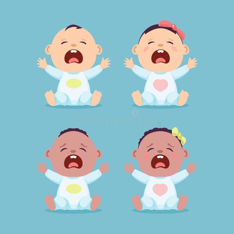 Reeks van het zitten van en het schreeuwen van weinig Kaukasische baby en zwarte baby, babyjongen en babymeisje stock illustratie