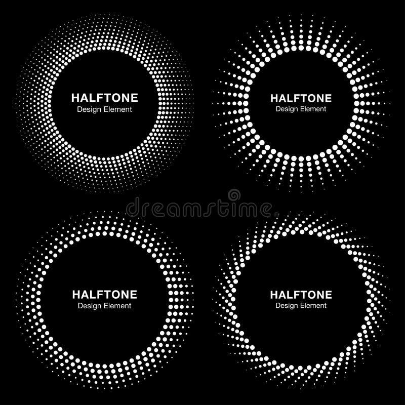 Reeks van het Zwarte Abstracte Halftone Embleem van het Cirkelkader vector illustratie