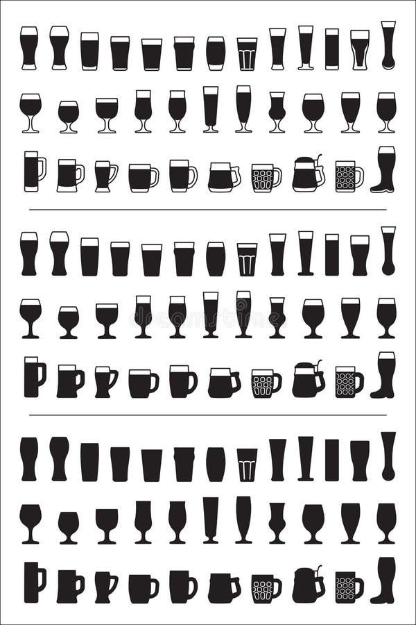 Reeks van het zwarte glas van het pictogrammenbier Bierglazen en mokkensilhouetten Vector illustratie royalty-vrije illustratie