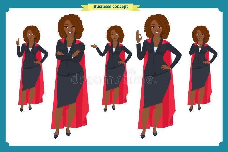 Reeks van het Zwarte ontwerp van het Onderneemsterkarakter Voor, zij, achtermening geanimeerd karakter Bedrijfsmeisjeskarakter stock illustratie