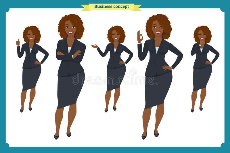 Reeks van het Zwarte ontwerp van het Onderneemsterkarakter Voor, zij, achtermening geanimeerd karakter Bedrijfsmeisjeskarakter vector illustratie