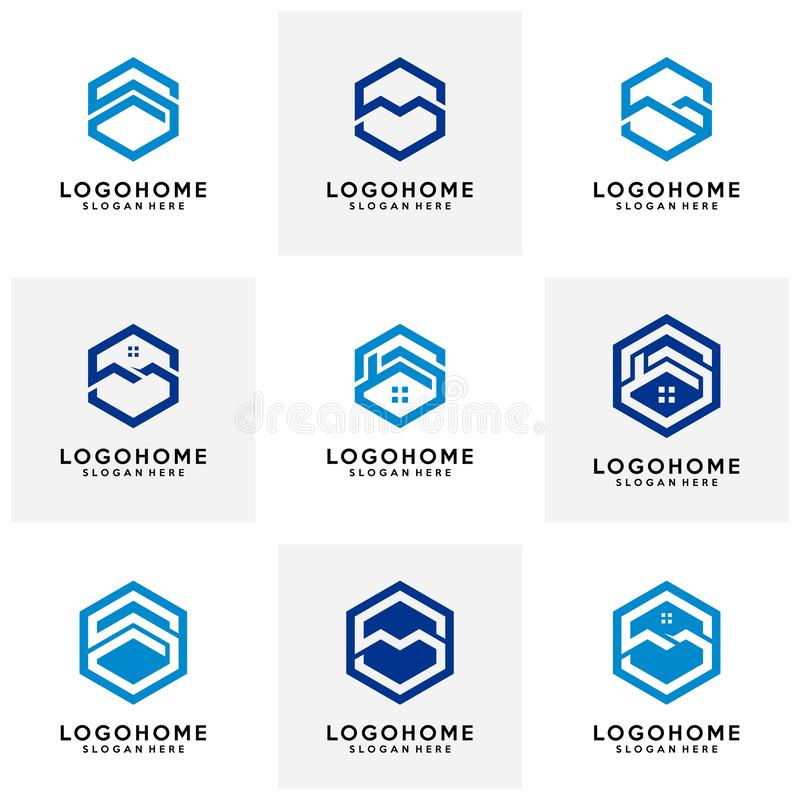 Reeks van Hexagon van het het embleemontwerp van de brievens architectuur vectormalplaatje, pictogram, symbool stock afbeeldingen
