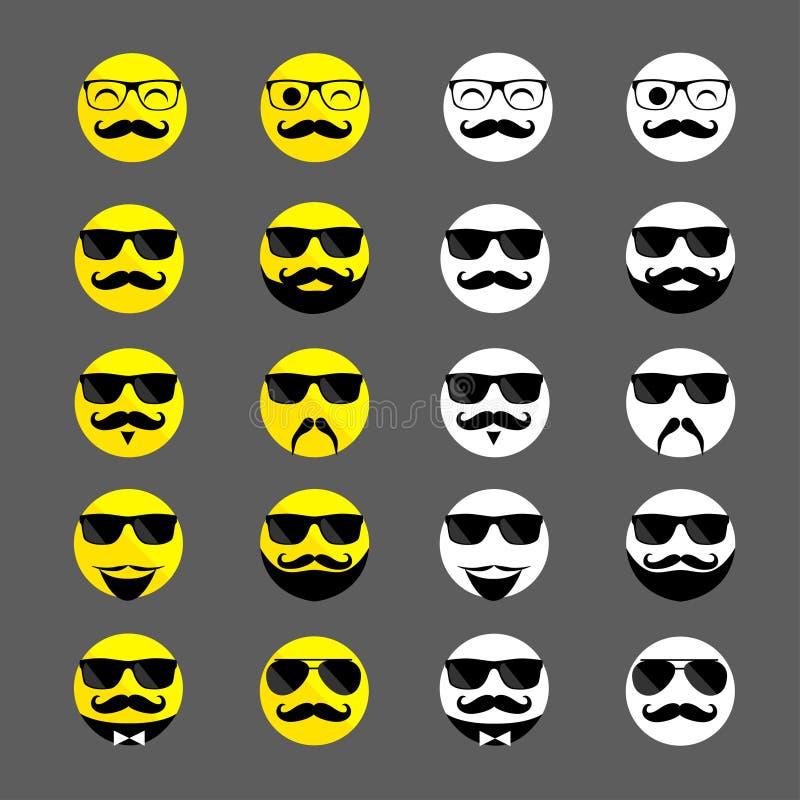 Reeks van hipster emoticons met baarden en snorren royalty-vrije stock foto's