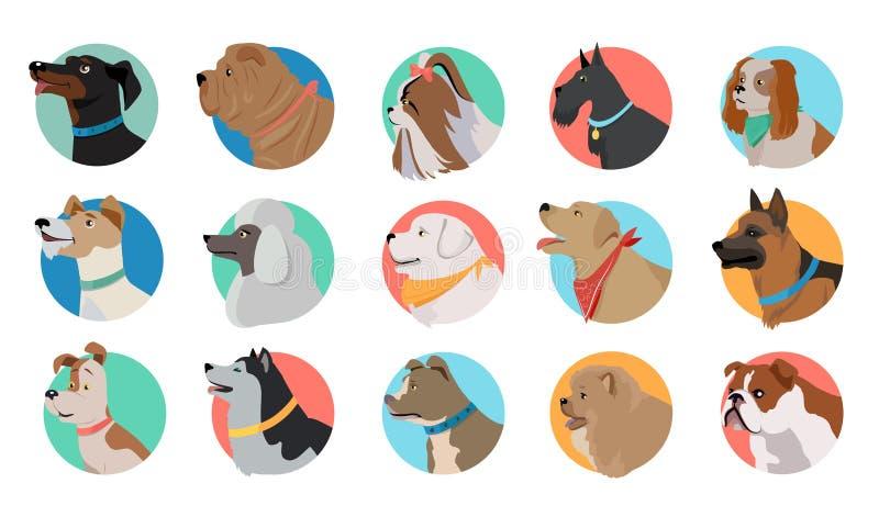 Reeks van Hond om Pictogrammen royalty-vrije illustratie