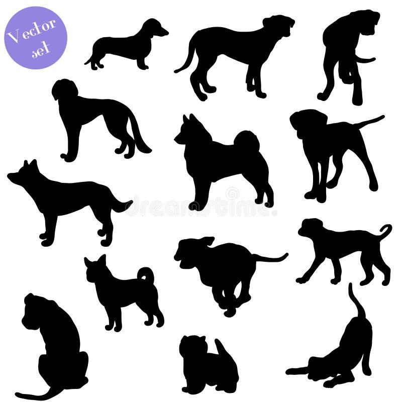 Reeks van hondensilhouet Vector vector illustratie