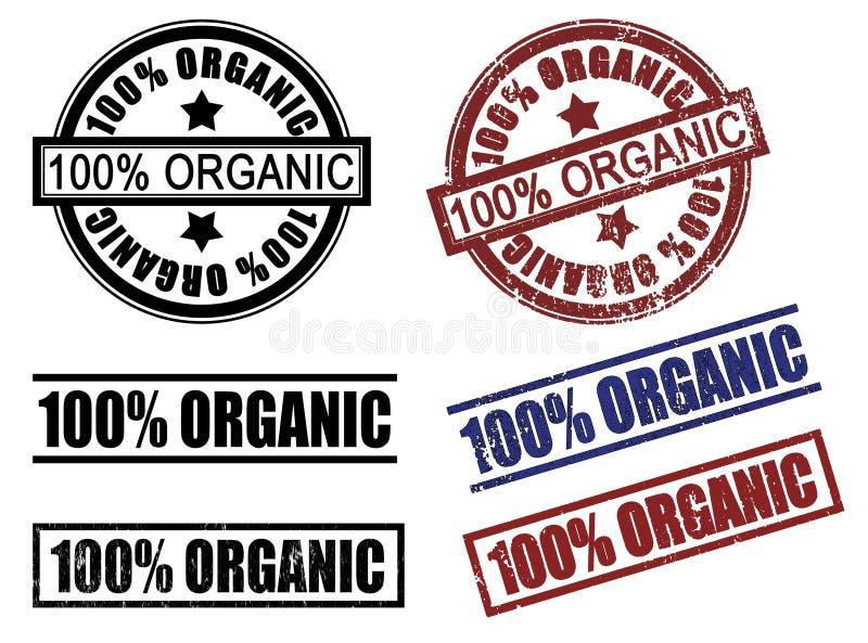 Reeks van 100 honderd %- percenten organische rubberzegels stock illustratie