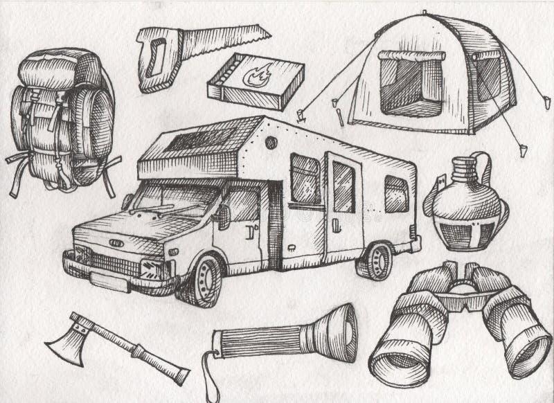 reeks van hoogst gedetailleerd hand getrokken het kamperen materiaal Uitstekende tekensinzameling vector illustratie