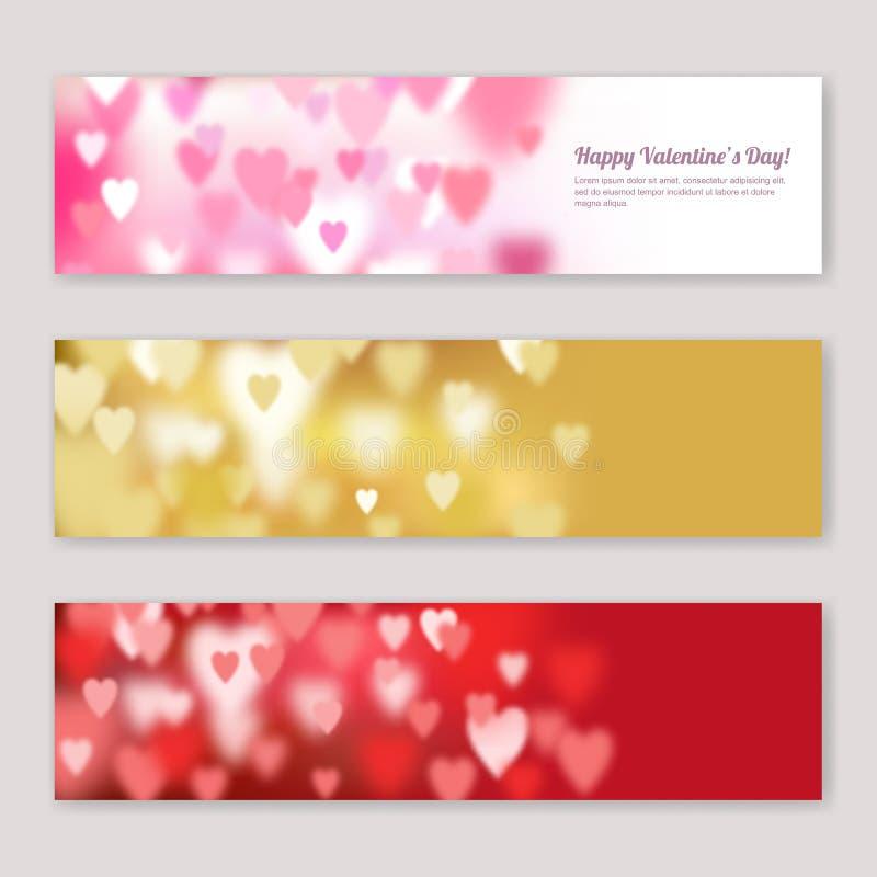 Reeks van horizontaal de bannersontwerp van de Valentijnskaartendag met vage roze, rode en gouden harten vector illustratie