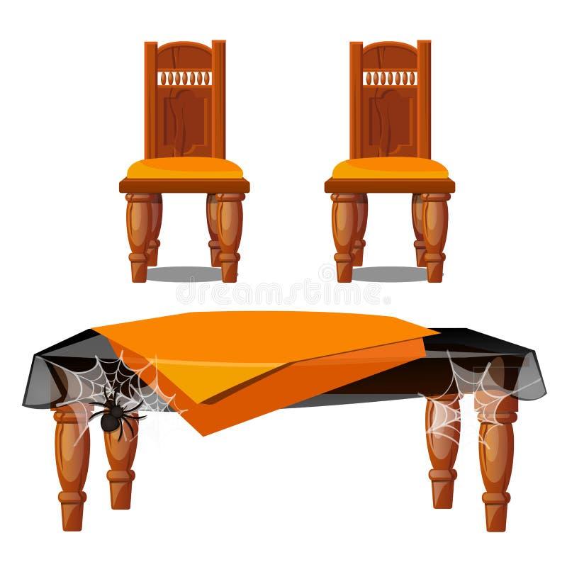 Reeks van houten die meubilair op witte achtergrond wordt geïsoleerd Twee die stoelen, lijst met spiderwebs met spin wordt behand stock illustratie