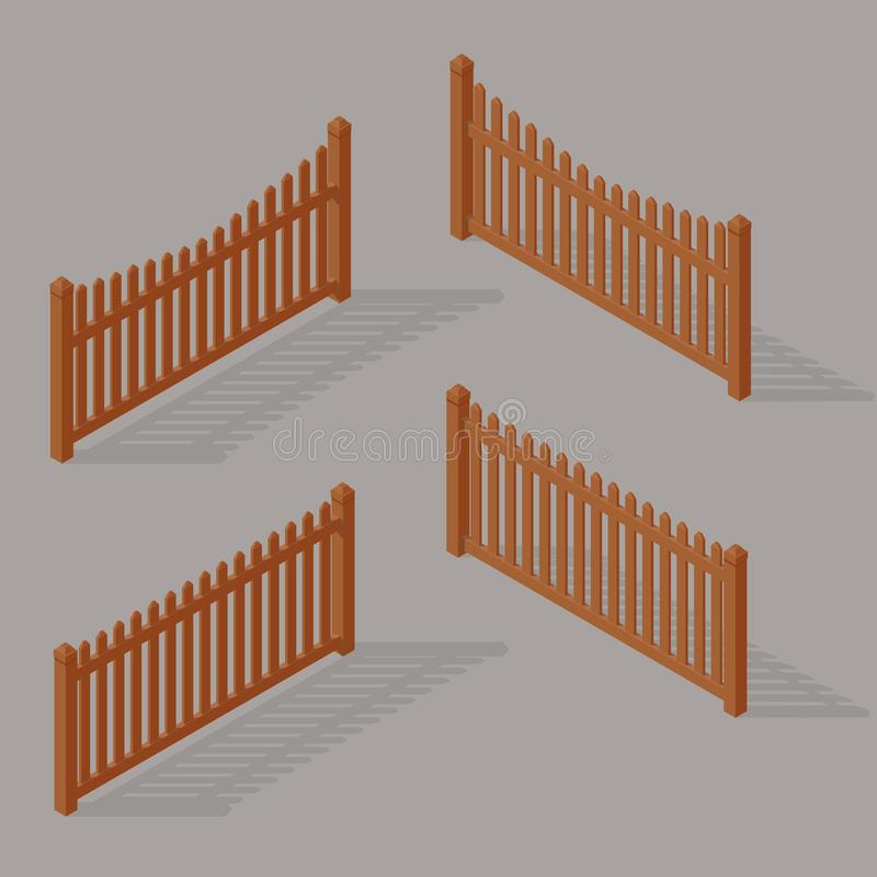Reeks van houten omheining stock illustratie