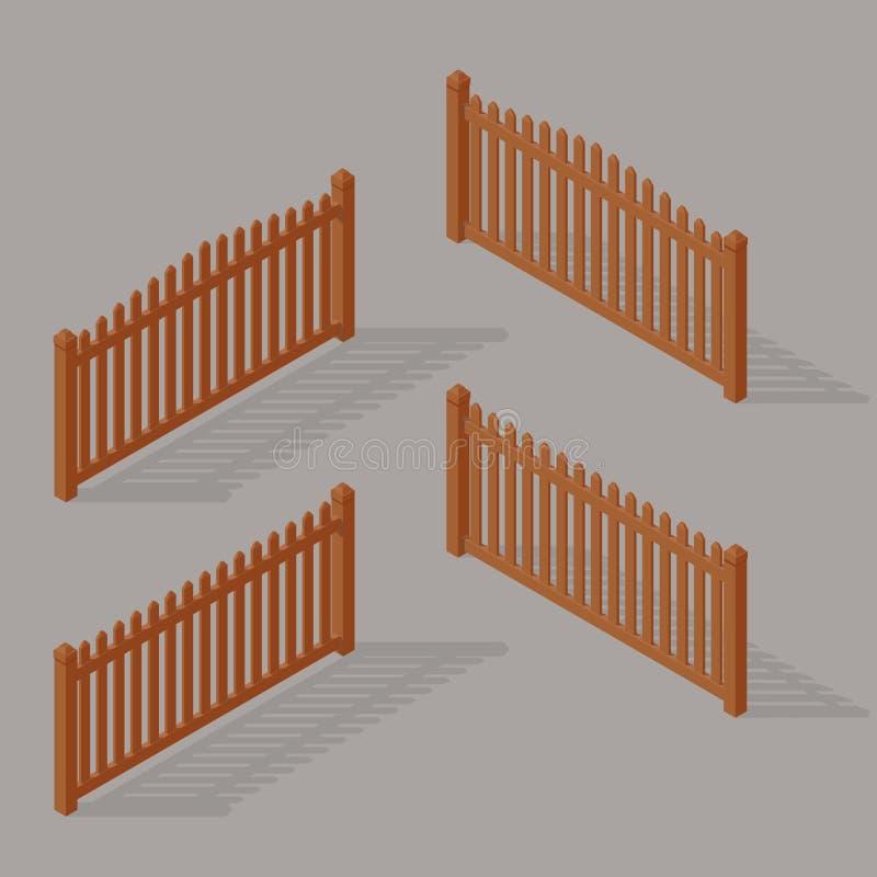 Reeks van houten omheining vector illustratie