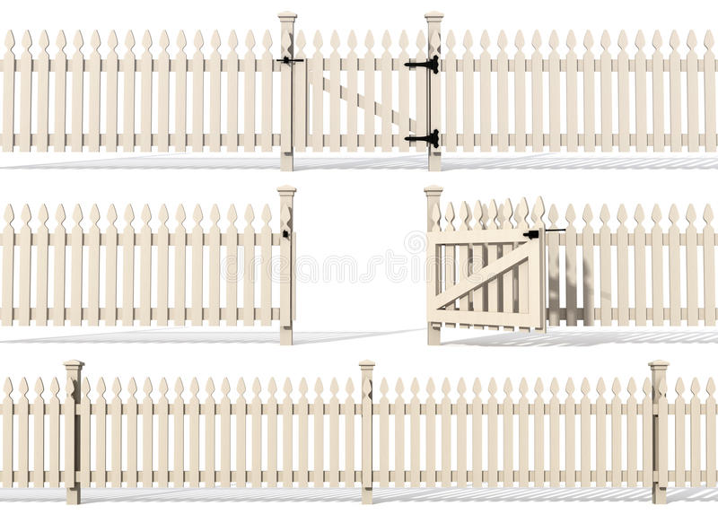 Reeks van houten omheining royalty-vrije illustratie