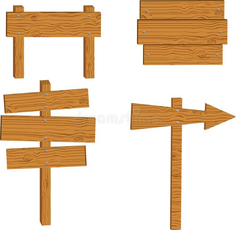 Reeks van houten teken royalty-vrije illustratie