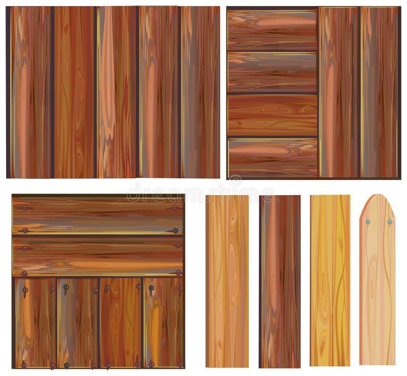 Reeks van houten teken, vector royalty-vrije illustratie