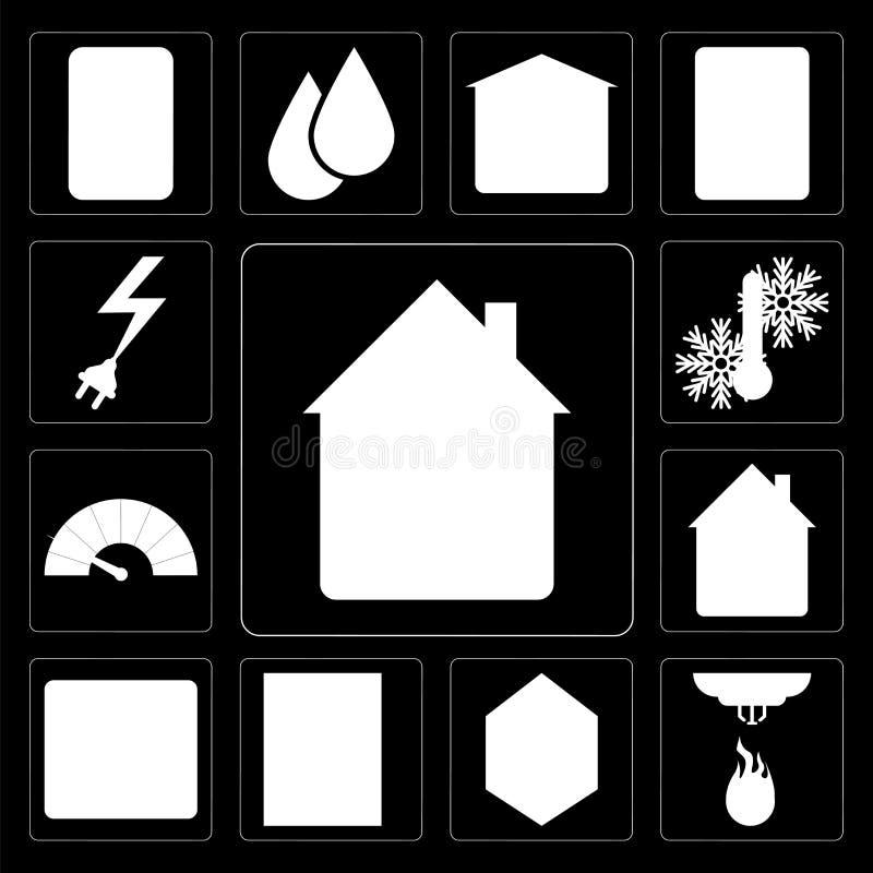 Reeks van Huis, Sensor, Venster, Brandalarm, Meter, Temperatuur, Pow vector illustratie