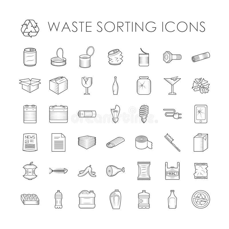 Reeks van huisvuilscheiding die verwante de pictogrammenvector recycleren van het afval sorterende overzicht stock illustratie