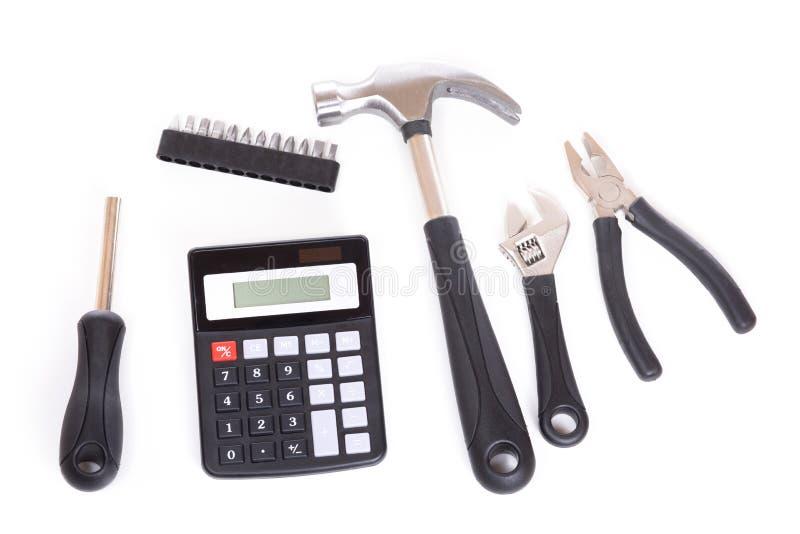 Reeks van hulpmiddelen en calculator stock foto