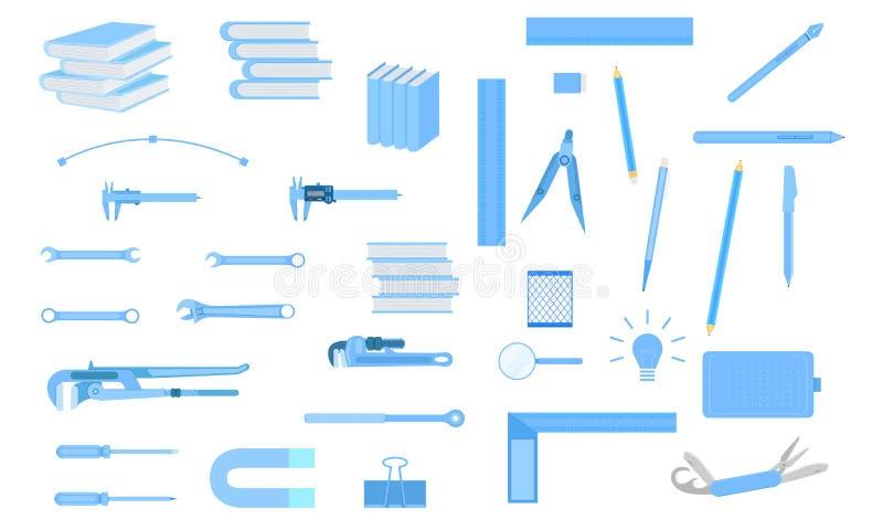 Reeks van hulpmiddelmateriaal voor het ontwerpkunstenaar van het ingenieursonderwijs technicain Vector illustratie EPS10 stock illustratie