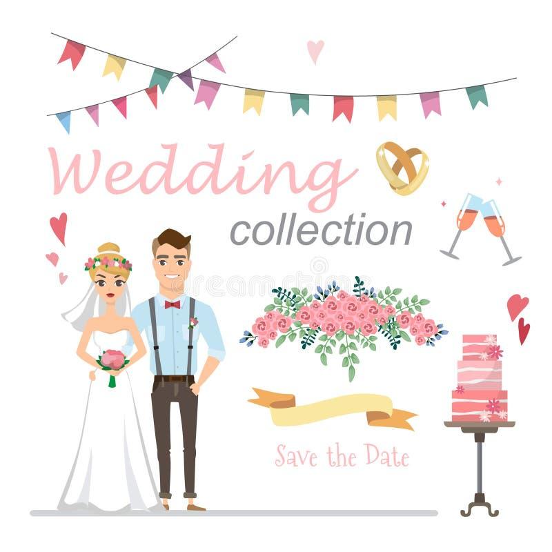 Reeks van huwelijksbeelden, bruid en bruidegom in liefde stock illustratie