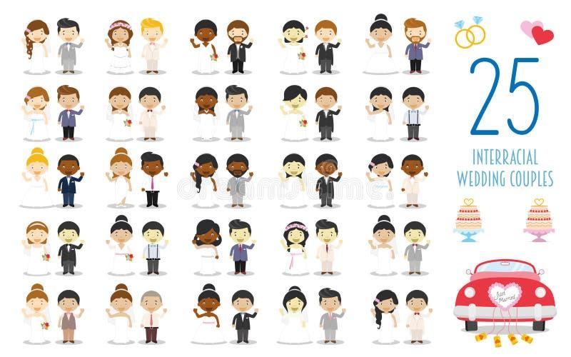 Reeks van 25 huwelijksparen tussen verschillende rassen en huwelijks- pictogrammen in beeldverhaalstijl royalty-vrije illustratie