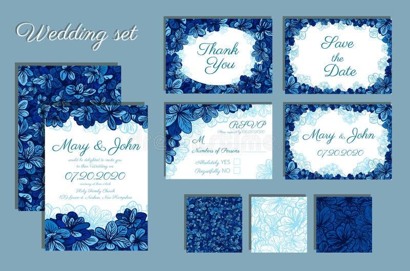 Reeks van Huwelijksuitnodigingen en naadloos patroon voor uw ontwerp stock afbeelding