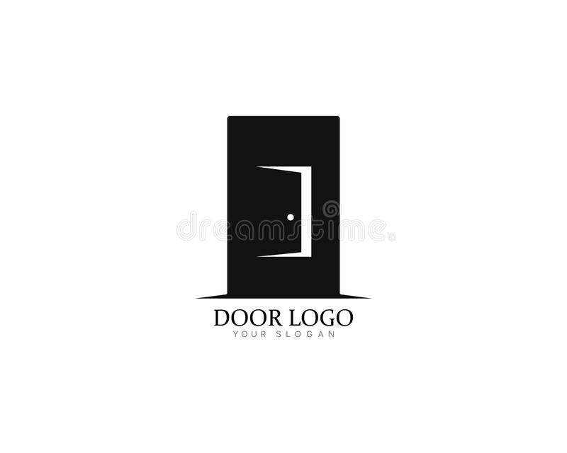 Reeks van illustratie van het het malplaatje de vectorpictogram van het deurembleem stock illustratie