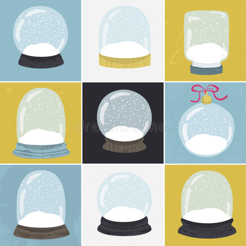 Reeks van 9 illustraties met hand getrokken sneeuwbol royalty-vrije illustratie