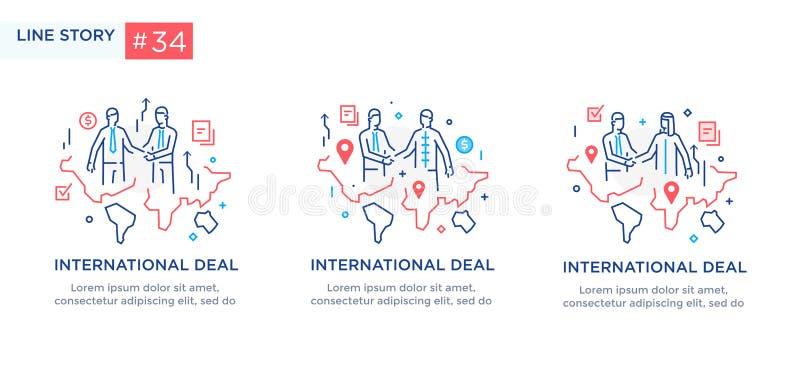 Reeks van illustratiesconcept met bedrijfsconcept Werkschema, de groei, grafiek Bedrijfs internationale ontwikkeling, royalty-vrije illustratie