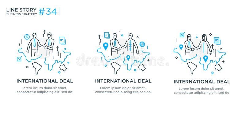 Reeks van illustratiesconcept met bedrijfsconcept Werkschema, de groei, grafiek Bedrijfs internationale ontwikkeling, stock illustratie