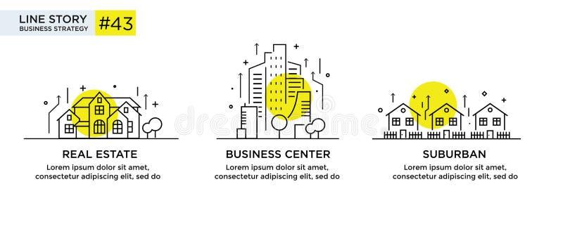 Reeks van illustratiesconcept met bedrijfsconcept Werkschema, de groei, grafiek De bouw, stad, navigatie lineair royalty-vrije illustratie