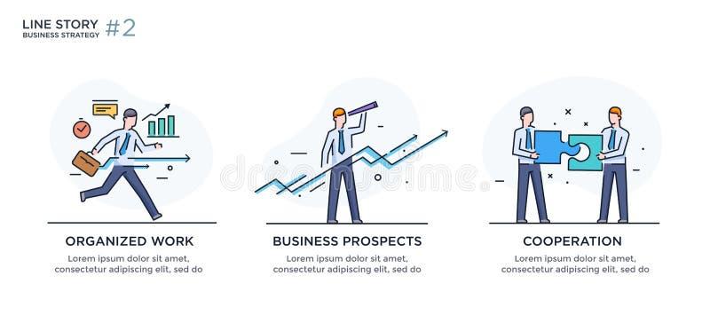 Reeks van illustratiesconcept met zakenlieden Werkschema, de groei, grafiek Bedrijfsontwikkeling, mijlpalen lineair stock illustratie