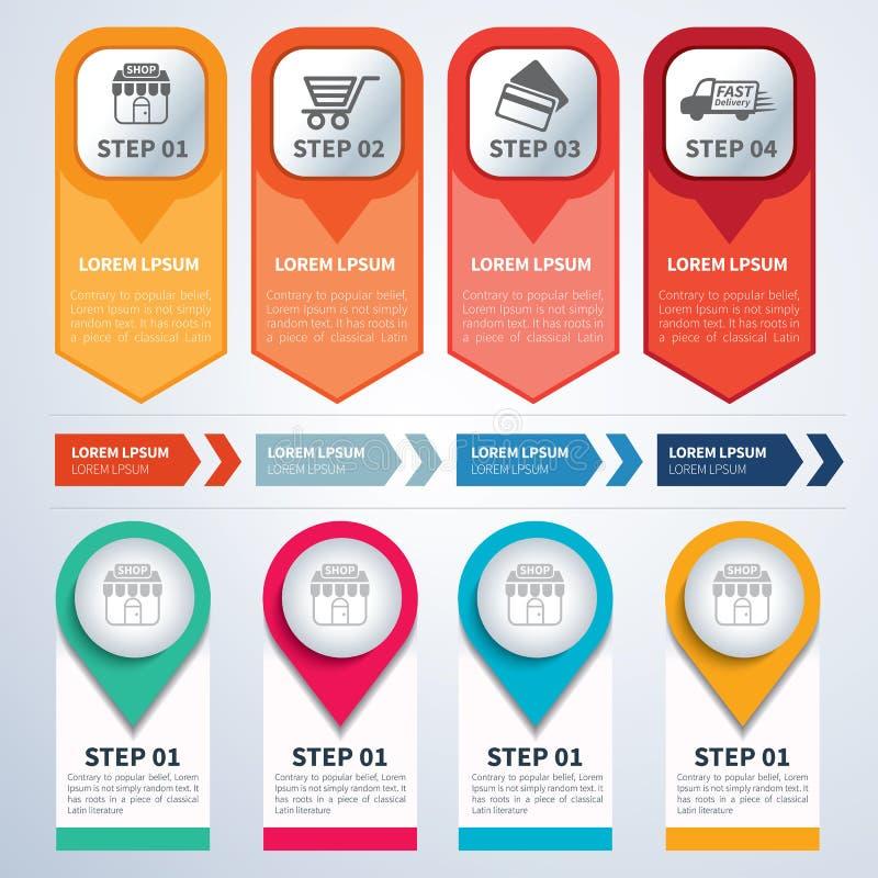 Reeks van infographic malplaatjes vlak ontwerp stock illustratie