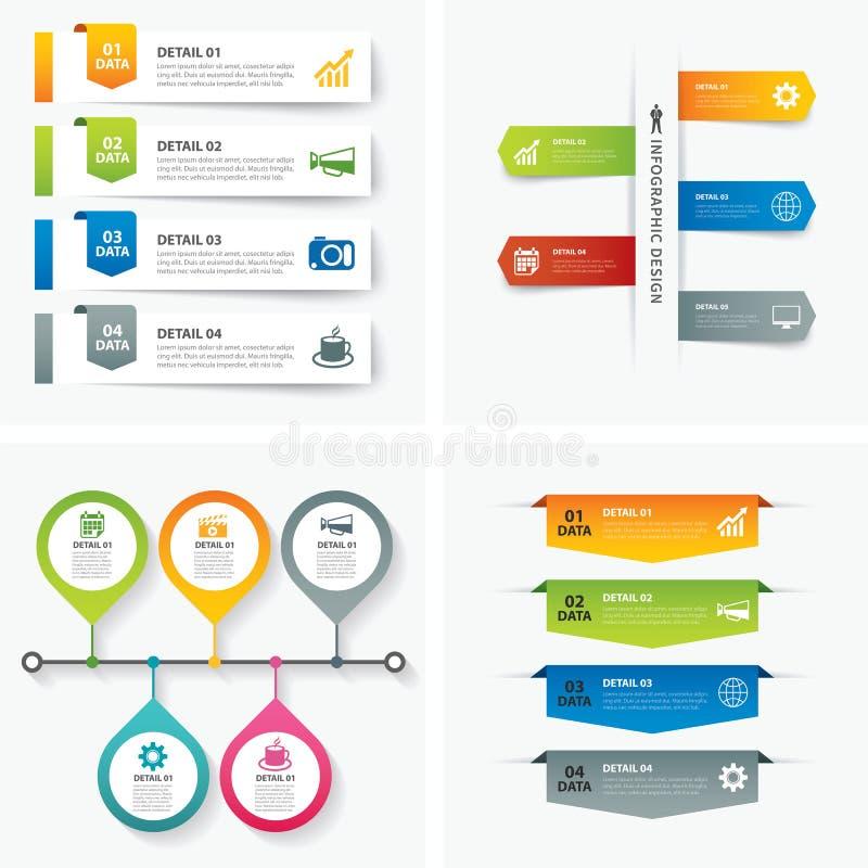 Reeks van infographic malplaatjes vlak ontwerp vector illustratie